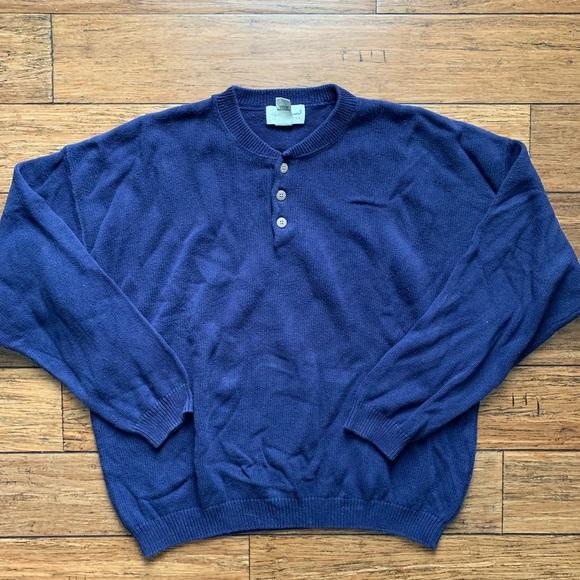 Eddie Bauer Other - Navy Blue Henley Crew Neck Sweater